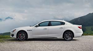 Wallpaper Maserati Sedan White Side Quattroporte GTS, GranSport, US-spec, 2018, Luxury Cars