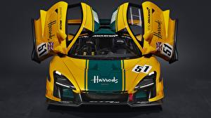 Bakgrundsbilder på skrivbordet McLaren Coupé Öppna dörr Gul Senna GTR LM, 2020 Bilar