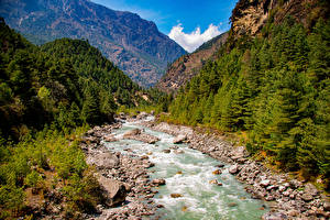 Photo Mountains Rivers Stone Trees Lukla, Nepal Nature
