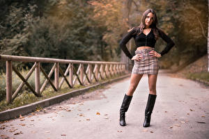Pictures Posing Legs Wearing boots Skirt Blouse Staring Nadia young woman