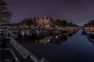 Pictures Netherlands Amsterdam Bridges Building Riverboat Canal