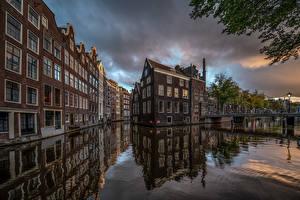 Tapety na pulpit Holandia Amsterdam Domy Mosty Kanał wodny Miasta zdjęcia zdjęcie