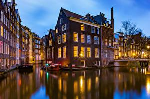 Picture Netherlands Amsterdam Houses Bridge Canal