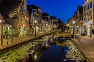 Picture Netherlands Houses Canal Night Street lights Maassluis Cities