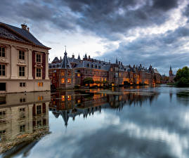Photo Netherlands Building Clouds Reflection The Hague