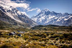 Fotos Neuseeland Gebirge Landschaftsfotografie Ein Tal Mount Cook Natur
