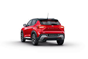 Picture Nissan Crossover Red Metallic Back view White background Magnite, India, 2021 Cars
