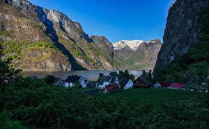 Pictures Norway Building Mountains Crag Fjord Sogn og Fjordane Nature
