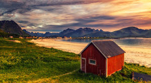 Photo Norway Lofoten Coast Sunrise and sunset Mountain Houses Bay
