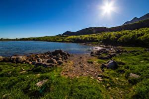 Image Norway Lofoten Mountain Sky Stones Sun