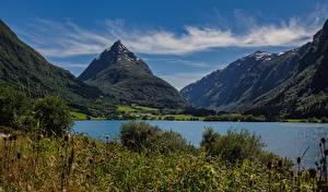 Wallpaper Norway Mountain Lake Landscape photography Byrkjelo Nature