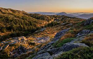 Tapety na pulpit Norwegia Góry Kamień Jesienne Bergen