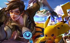 Bilder Overwatch tracer, crossover, pikachu computerspiel