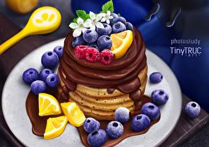 Desktop wallpapers Pancake Chocolate Blueberries Berry tiny-truc Food