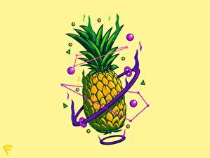 Bilder Ananas Gezeichnet Farbigen hintergrund