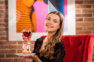 Images Polina Kadynskaya, Georgia Cakes Plate Stemware Smile Staring Brown haired young woman