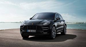 Desktop wallpapers Porsche Black Front Asphalt Crossover Macan Turbo, 2014 Cars