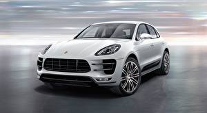 Desktop wallpapers Porsche Front CUV White Macan Turbo, with Turbo Package, 2015 auto