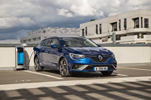 Bakgrundsbilder på skrivbordet Renault Hybridbil Metallisk Blå Parkerade  bil