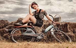 Pictures Retro Radio receiver Hay Bicycle Sitting young woman