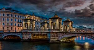 Wallpapers Russia St. Petersburg Evening Building River Bridges Lomonossov bridge Cities