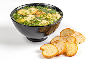 Image Soups Bread Dill White background Plate Food