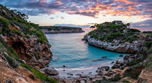 Wallpaper Spain Coast Majorca Mallorca Sea Rock Clouds Nature