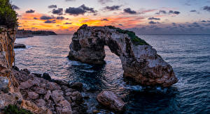 Photo Spain Majorca Mallorca Coast Sea Rock Arch Nature