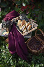 Images Still-life Kettle Pastry Wicker basket Food