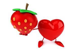 Papel de Parede Desktop Morangos Coração