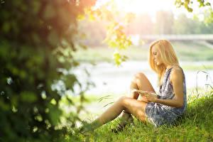 Pictures Summer Bokeh Blonde girl Grass Book Frock Sitting Female Girls