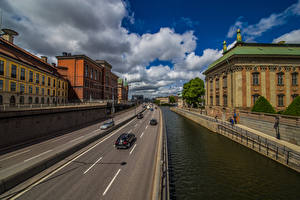 Images Sweden Stockholm Building Street Waterfront Clouds Cities