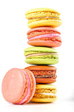 Wallpapers Sweets White background French macarons Multicolor