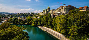 Pictures Switzerland Bern Houses Rivers Trees Cities