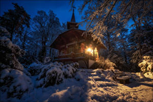 Photo Switzerland Forests Winter Houses Snow Trees Bern Nature