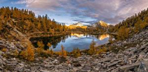 Pictures Switzerland Mountain Autumn Stones Lake Landscape photography Panorama Alps Nature