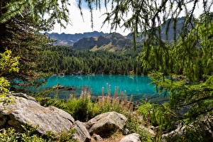 Pictures Switzerland Mountains Lake Stone Alps Lago di Saoseo Nature