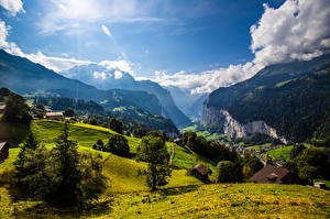 Picture Switzerland Mountain Scenery Alps Clouds Crag Eiger Girls