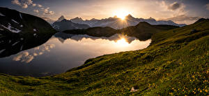 Image Switzerland Mountain Sunrise and sunset Lake Landscape photography Alps Valais