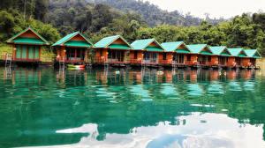 Desktop hintergrundbilder Thailand Parks See Gebäude Cheow Lan Lake Khao Sok National Park Thailand Natur