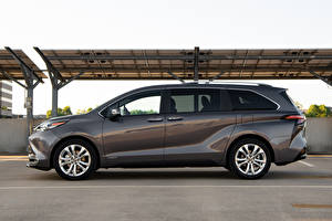 Wallpapers Toyota Station wagon Gray Metallic Side Sienna Platinum, 2020