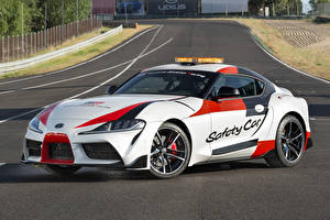 Fonds d'écran Toyota Tuning Blanc 2019 GR Supra Safety Car
