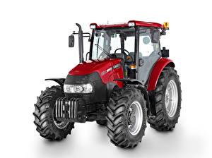 Bakgrundsbilder på skrivbordet Traktor Röd Vit bakgrund