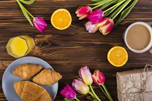 Wallpaper Tulips Croissant Juice Breakfast Wood planks Food