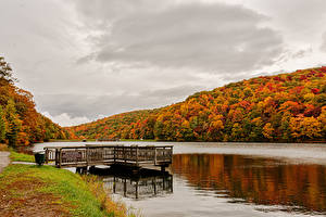 Photo USA Autumn Rivers Forests Pier Norton, Virginia Nature