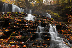 Pictures USA Autumn Stone Waterfalls Leaf Mohawk Falls Nature