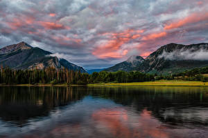 Picture USA Mountains Lake Forest Sky Clouds Lake Dillon Nature
