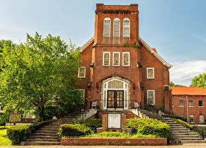 Hintergrundbilder Vereinigte Staaten Tempel Kirchengebäude Treppen First Presbyterian Church Harlan, Kentucky