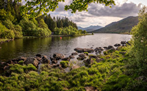 Pictures United Kingdom Mountain River Stone Wales Snowdonia