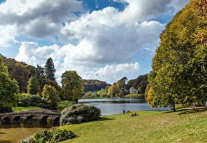 Photo United Kingdom Park Pond Bridges Trees Shrubs Stourhead Gardens, Stourton, Wiltshire Nature